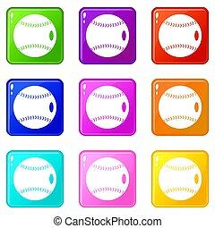 9, baseballowa piłka, komplet