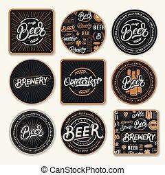 9, birra, set, coasters