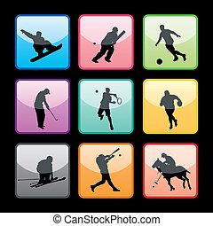 9, botões, desporto, jogo