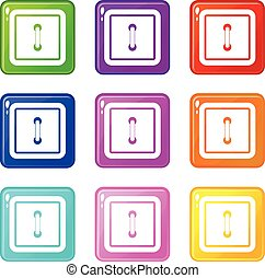 9, bottone, cucito, quadrato, set