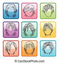 9, boutons, coiffure, ensemble