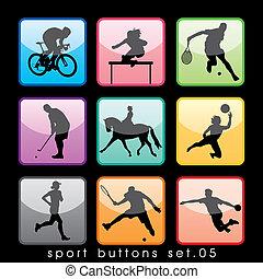 9, boutons, sport, ensemble