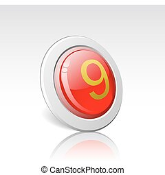 """Button with the number """"9"""" is shown in the picture."""