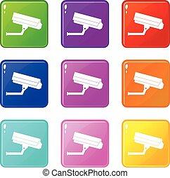9, câmera, jogo, vigilância, ícones