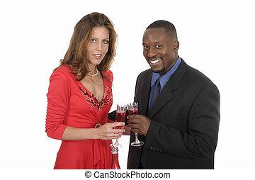 9, celebrando, par, romanticos, vinho