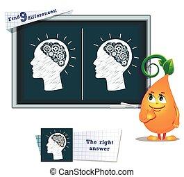 9, cerveau, jeu, différences, trouver