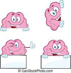 9, cervello, cartone animato, collezione, mascotte