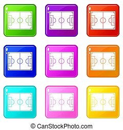 9, champ, football, ensemble, icônes