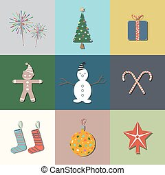 9 Christmas flat icons. Vector illustration.