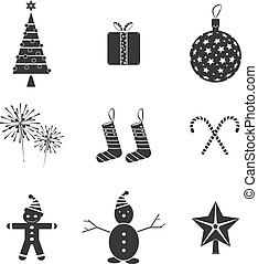 9 Christmas icons. Vector illustration.