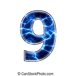 9, cifra, -, elettrico, 3d