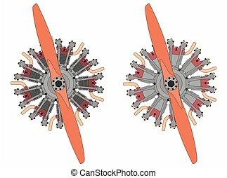 9, cilindro, radial, motor, colored., pretas, esboço