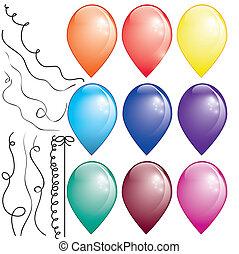 9, colorato, aria, palloni, in, sfondo bianco