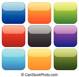 9 colorful empty squares with glossy effect