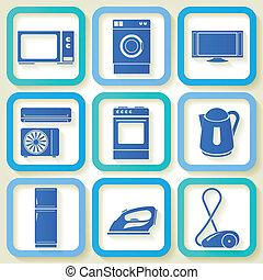 9, conjunto, aparatos eléctricos