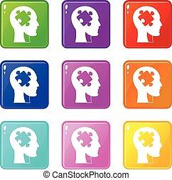 9, conjunto cabeça, quebra-cabeça, ícones