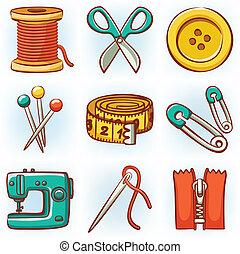 9, conjunto, herramientas, costura, iconos