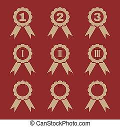 9, conjunto, negro, premio, icons.