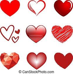 9, corações, estilo, vetorial, jogo, isolado, branco, experiência.