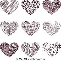 9, corações, funky, vetorial
