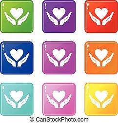 9, corazón, Conjunto, tenencia, Manos