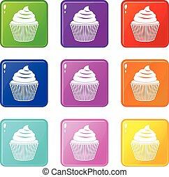 9, cupcake, セット, アイコン