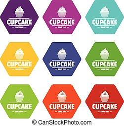 9, cupcake, セット, ベクトル, アイコン