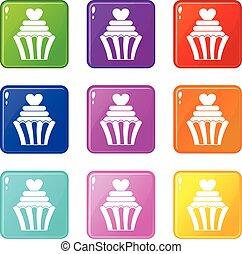 9, cupcake, セット, 愛, アイコン