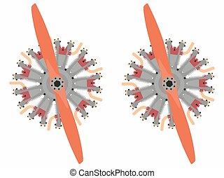 9 cylinder radial engine colored
