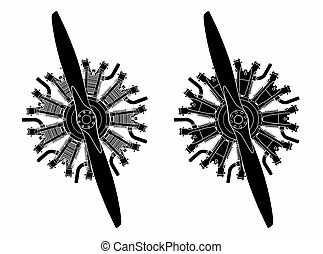 9 cylinder radial engine colored. Black fill only