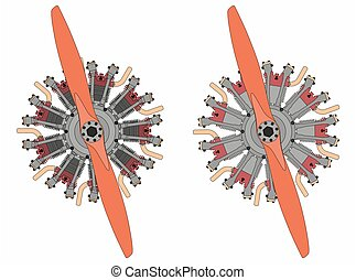 9 cylinder radial engine colored. Black outline - 9 cylinder...