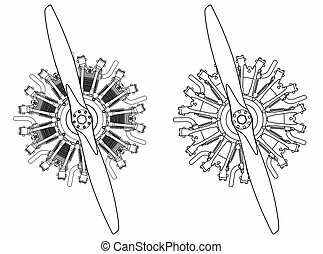 9 cylinder radial engine colored. Outline only
