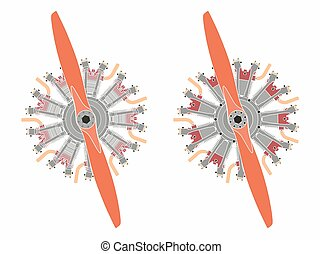 9 cylinder radial engine colored. Without outline