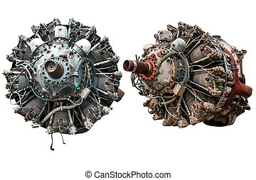 9 cylinder Radial Engine of old airplane isolated on white background