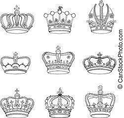 9, détaillé, ensemble, couronnes