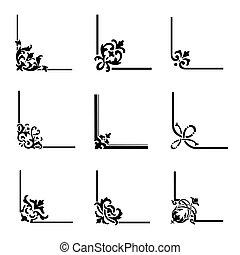 9, decorativo, conjunto, esquinas