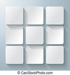 9, desig, vit, fyrkanteer