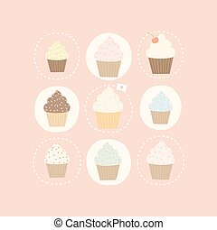 9 different cute cupcakes