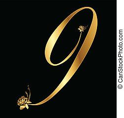 9, dourado, vetorial, número, rosas