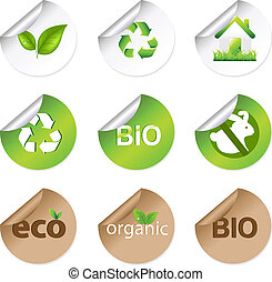 Eco Stickers - 9 Eco Stickers, Isolated On White Background,...