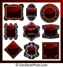 9, elegante, astratto, etichette, set