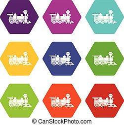 9, ensemble, locomotive, vecteur, icônes