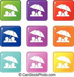 9, ensemble, parapluie, famille, sous