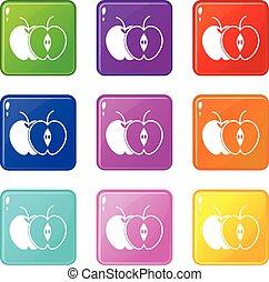 9, ensemble, pomme entière, moitié