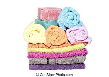 9 facecloths off various shades and soaps