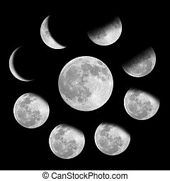 9, faserna, måne
