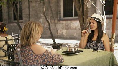 9-Female Friends At Bar Drinking Coffee Smoking E-Cig