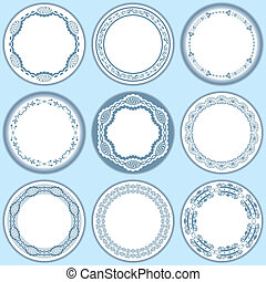 9 feminine blue labels set. Illustration vector.