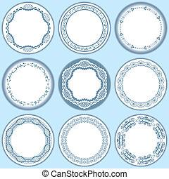 9 feminine blue labels set. Illustration vector.