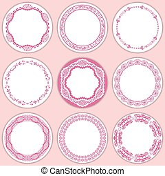 9 feminine labels set